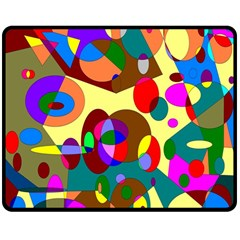 Abstract Digital Circle Computer Graphic Double Sided Fleece Blanket (medium)