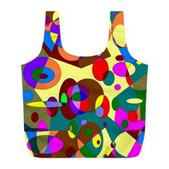 Abstract Digital Circle Computer Graphic Full Print Recycle Bags (L)
