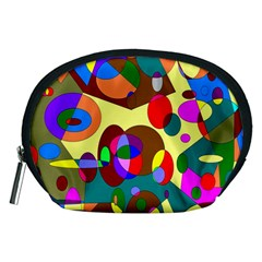 Abstract Digital Circle Computer Graphic Accessory Pouches (medium)