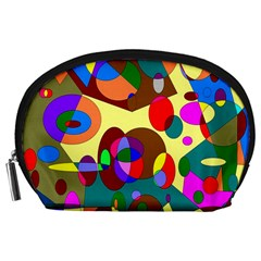 Abstract Digital Circle Computer Graphic Accessory Pouches (Large)