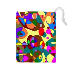 Abstract Digital Circle Computer Graphic Drawstring Pouches (large)