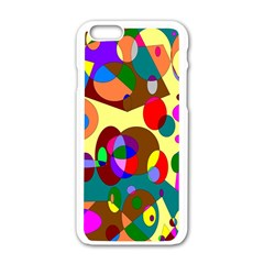 Abstract Digital Circle Computer Graphic Apple iPhone 6/6S White Enamel Case