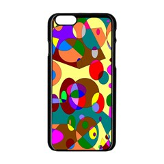 Abstract Digital Circle Computer Graphic Apple iPhone 6/6S Black Enamel Case