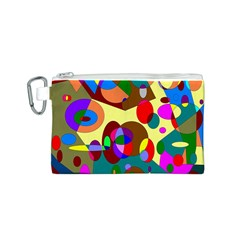 Abstract Digital Circle Computer Graphic Canvas Cosmetic Bag (S)