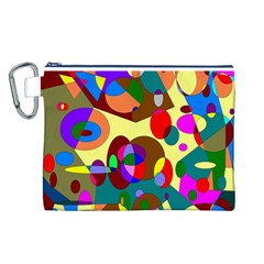 Abstract Digital Circle Computer Graphic Canvas Cosmetic Bag (L)