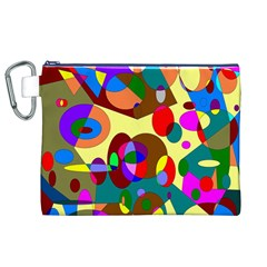 Abstract Digital Circle Computer Graphic Canvas Cosmetic Bag (XL)