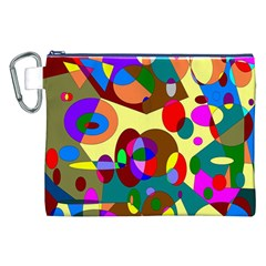 Abstract Digital Circle Computer Graphic Canvas Cosmetic Bag (xxl)