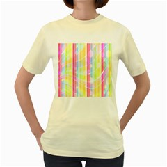 Abstract Stipes Colorful Background Circles And Waves Wallpaper Women s Yellow T Shirt