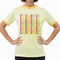 Abstract Stipes Colorful Background Circles And Waves Wallpaper Women s Fitted Ringer T-Shirts