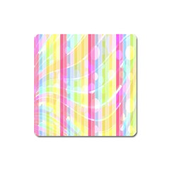 Abstract Stipes Colorful Background Circles And Waves Wallpaper Square Magnet