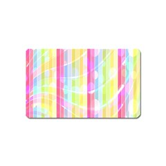 Abstract Stipes Colorful Background Circles And Waves Wallpaper Magnet (Name Card)