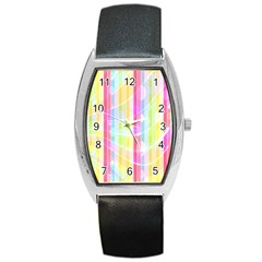 Abstract Stipes Colorful Background Circles And Waves Wallpaper Barrel Style Metal Watch