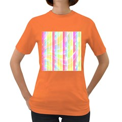 Abstract Stipes Colorful Background Circles And Waves Wallpaper Women s Dark T-Shirt