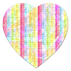 Abstract Stipes Colorful Background Circles And Waves Wallpaper Jigsaw Puzzle (Heart)