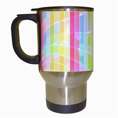 Abstract Stipes Colorful Background Circles And Waves Wallpaper Travel Mugs (White)