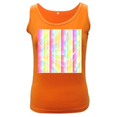 Abstract Stipes Colorful Background Circles And Waves Wallpaper Women s Dark Tank Top