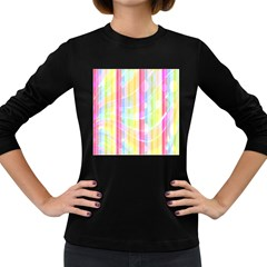 Abstract Stipes Colorful Background Circles And Waves Wallpaper Women s Long Sleeve Dark T-Shirts