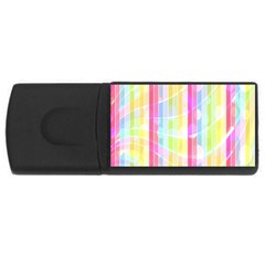 Abstract Stipes Colorful Background Circles And Waves Wallpaper USB Flash Drive Rectangular (4 GB)