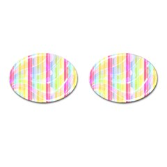 Abstract Stipes Colorful Background Circles And Waves Wallpaper Cufflinks (Oval)