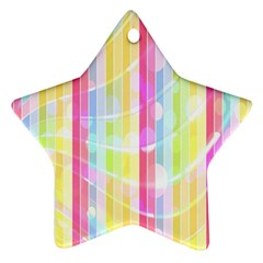 Abstract Stipes Colorful Background Circles And Waves Wallpaper Star Ornament (two Sides)