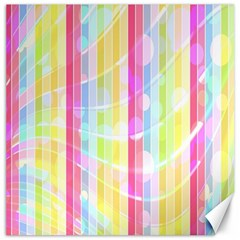 Abstract Stipes Colorful Background Circles And Waves Wallpaper Canvas 12  x 12