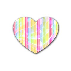 Abstract Stipes Colorful Background Circles And Waves Wallpaper Rubber Coaster (Heart)