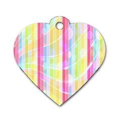 Abstract Stipes Colorful Background Circles And Waves Wallpaper Dog Tag Heart (One Side)