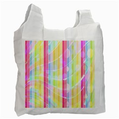 Abstract Stipes Colorful Background Circles And Waves Wallpaper Recycle Bag (two Side)
