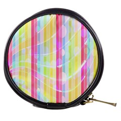 Abstract Stipes Colorful Background Circles And Waves Wallpaper Mini Makeup Bags