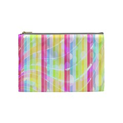 Abstract Stipes Colorful Background Circles And Waves Wallpaper Cosmetic Bag (Medium)