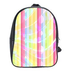 Abstract Stipes Colorful Background Circles And Waves Wallpaper School Bags(Large)