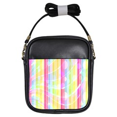 Abstract Stipes Colorful Background Circles And Waves Wallpaper Girls Sling Bags
