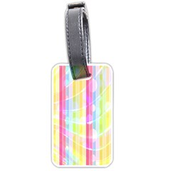 Abstract Stipes Colorful Background Circles And Waves Wallpaper Luggage Tags (one Side)