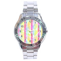 Abstract Stipes Colorful Background Circles And Waves Wallpaper Stainless Steel Analogue Watch