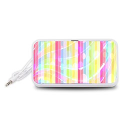 Abstract Stipes Colorful Background Circles And Waves Wallpaper Portable Speaker (White)