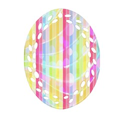 Abstract Stipes Colorful Background Circles And Waves Wallpaper Oval Filigree Ornament (two Sides)