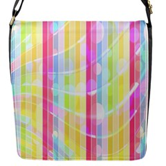 Abstract Stipes Colorful Background Circles And Waves Wallpaper Flap Messenger Bag (S)