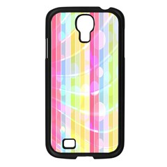 Abstract Stipes Colorful Background Circles And Waves Wallpaper Samsung Galaxy S4 I9500/ I9505 Case (Black)