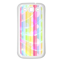 Abstract Stipes Colorful Background Circles And Waves Wallpaper Samsung Galaxy S3 Back Case (white)