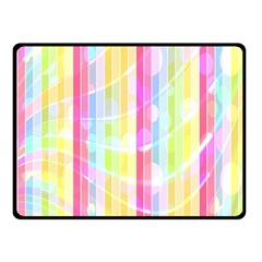 Abstract Stipes Colorful Background Circles And Waves Wallpaper Double Sided Fleece Blanket (Small)