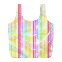 Abstract Stipes Colorful Background Circles And Waves Wallpaper Full Print Recycle Bags (L)