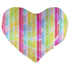 Abstract Stipes Colorful Background Circles And Waves Wallpaper Large 19  Premium Flano Heart Shape Cushions