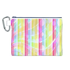 Abstract Stipes Colorful Background Circles And Waves Wallpaper Canvas Cosmetic Bag (L)