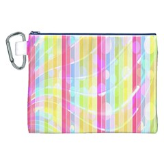 Abstract Stipes Colorful Background Circles And Waves Wallpaper Canvas Cosmetic Bag (XXL)