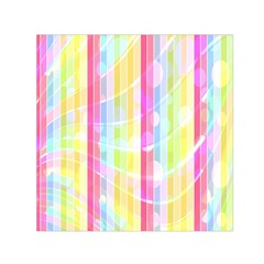 Abstract Stipes Colorful Background Circles And Waves Wallpaper Small Satin Scarf (Square)