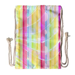 Abstract Stipes Colorful Background Circles And Waves Wallpaper Drawstring Bag (Large)