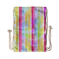 Abstract Stipes Colorful Background Circles And Waves Wallpaper Drawstring Bag (Small)