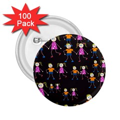 Kids Tile A Fun Cartoon Happy Kids Tiling Pattern 2.25  Buttons (100 pack)