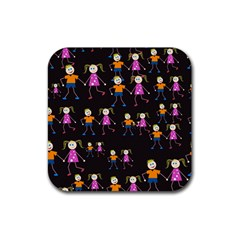 Kids Tile A Fun Cartoon Happy Kids Tiling Pattern Rubber Square Coaster (4 pack)