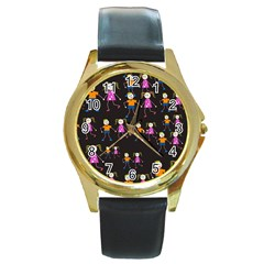 Kids Tile A Fun Cartoon Happy Kids Tiling Pattern Round Gold Metal Watch
